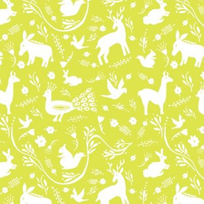 Woodland Otomi - Lime Background (small)
