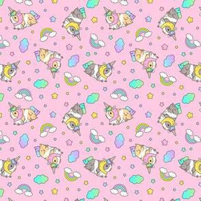 Kawaii Silkie Guinea pig Unicorn Pattern in Pink