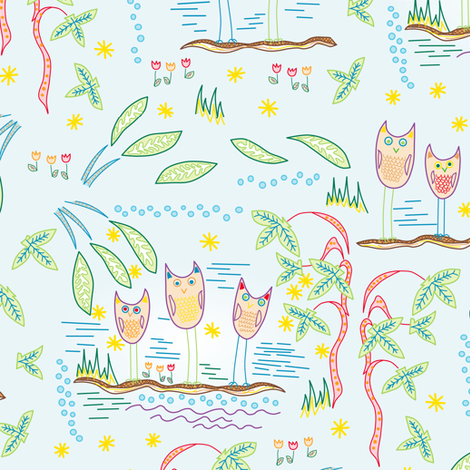 thoughtful birds fabric by lalalamonique on Spoonflower - custom fabric