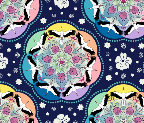 Circle of storks fabric by dina's_natural_avenue on Spoonflower - custom fabric