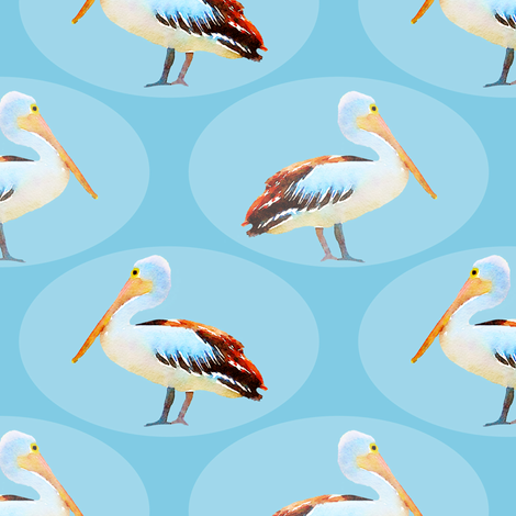 Pelican Oval with Fish Pattern fabric by lauriekentdesigns on Spoonflower - custom fabric