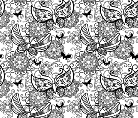 Butterfly coloring  fabric by elinorka on Spoonflower - custom fabric
