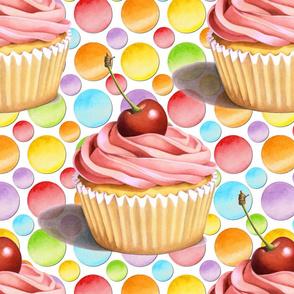 Pink Cupcake Polka Dots