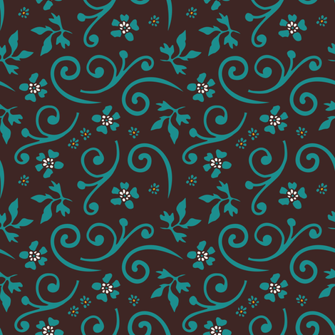 Tropical flower coordinating pattern | 2 fabric by camcreative on Spoonflower - custom fabric