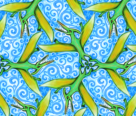 ptiny ptumbling pterodactyls fabric by beesocks on Spoonflower - custom fabric
