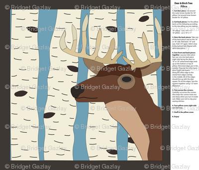 Deer & Birch Trees Pillow
