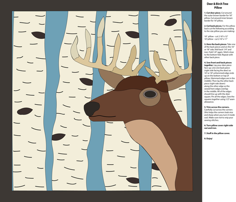 Deer & Birch Trees Pillow fabric by uniquely_fabric on Spoonflower - custom fabric