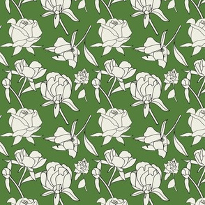 Roses in Cream and Green, smaller print