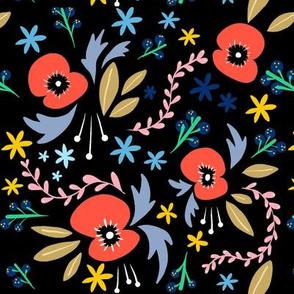 Poppies in the garden on black