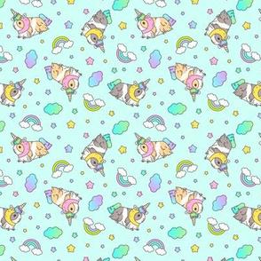 Kawaii Silkie Guinea pig Unicorn Pattern in Aqua