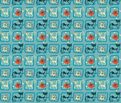 Atomic cats in squares fabric by roofdog_designs on Spoonflower - custom fabric