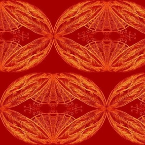 Fiery feathering -mirrored-red