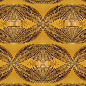 Faded feathering -mirrored-gold