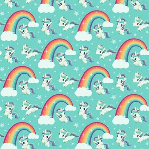 Retro unicorn and rainbow in blue