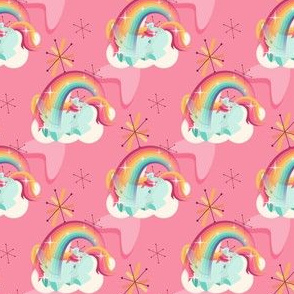 Baby unicorn sleeping under rainbow with mid-century elements