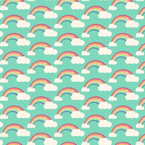 Rainbows and clouds on blue sky
