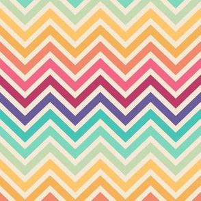 Retro rainbow chevron stripes
