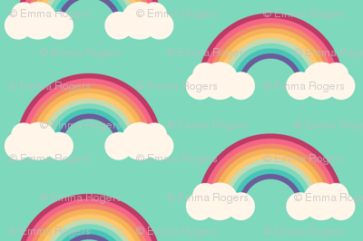 Simple bright rainbow cloud pattern