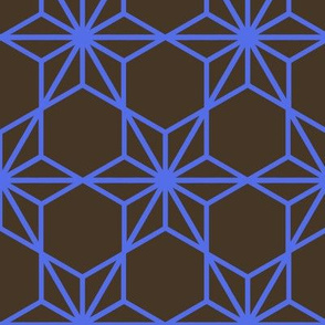 Kumiko Star (blue on brown)