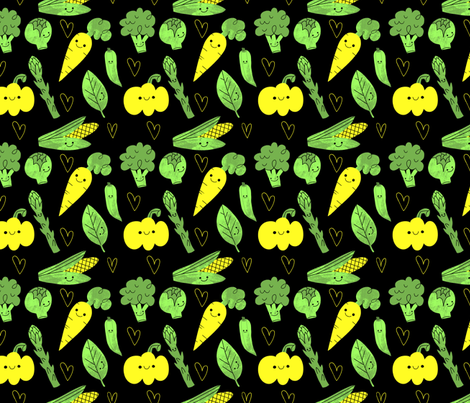 Little Happy Veggies fabric by juliagreenillustration on Spoonflower - custom fabric