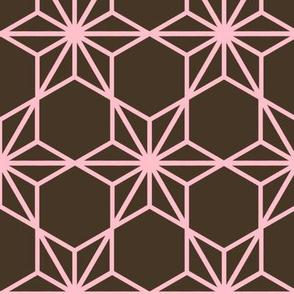 Kumiko Star (pink on brown)