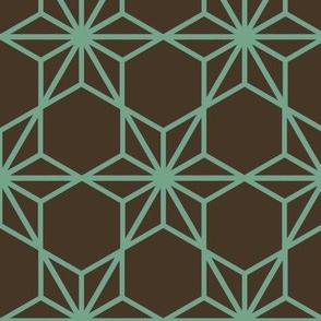 Kumiko Star (green on brown)