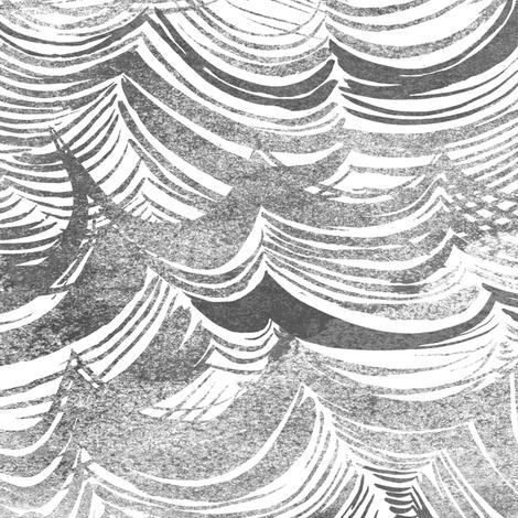 Wild Ocean (grey) fabric by nouveau_bohemian on Spoonflower - custom fabric