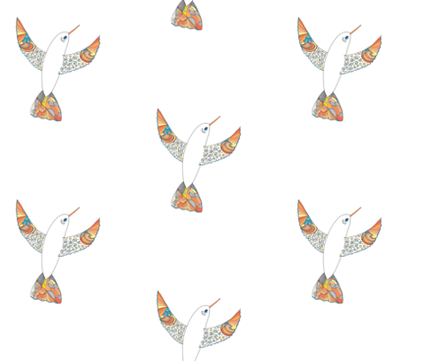 Hummingbird of Spring 2 fabric by jrlcreativelight on Spoonflower - custom fabric