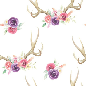 Watercolor Antler Floral Pattern
