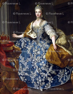 Marie Antoinette inspired queens princesses crowns blue gowns diamond chokers necklaces earrings bodice flowers floral leaf applique baroque victorian empresses ballgowns rococo royal portraits palace castles beautiful lady woman beauty elegant gothic  lo