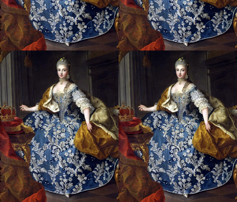 Marie Antoinette inspired queens princesses crowns blue gowns diamond chokers necklaces earrings bodice flowers floral leaf applique baroque victorian empresses ballgowns rococo royal portraits palace castles beautiful lady woman beauty elegant gothic  lo fabric by raveneve on Spoonflower - custom fabric