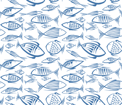 fishes white navy50  fabric by chicca_besso on Spoonflower - custom fabric