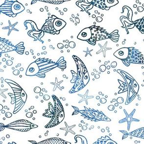 Navy fish on white seas
