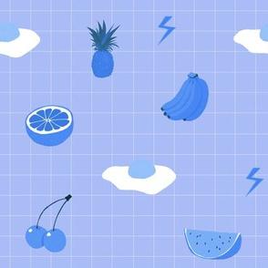 Monochrome fruit (blue)