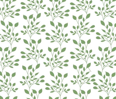 Green leaves pattern fabric by danira on Spoonflower - custom fabric