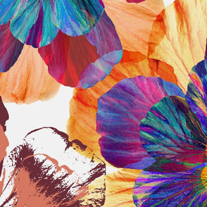 Over-sized Digital Floral Collage in Rainbow Colors on Off White