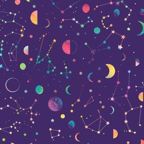 Rainbow constellations and moons - purple background
