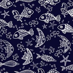 White fish on dark navy background