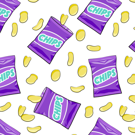 bag of chips - purple fabric by littlearrowdesign on Spoonflower - custom fabric