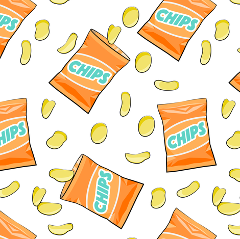bag of chips - orange fabric by littlearrowdesign on Spoonflower - custom fabric