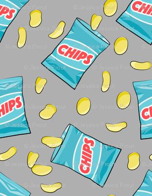 bag of chips - blue on grey