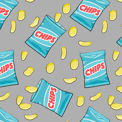 bag of chips - blue on grey fabric by littlearrowdesign on Spoonflower - custom fabric