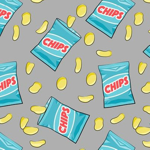 bag of chips - blue on grey
