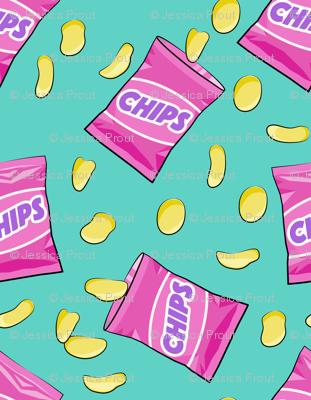 bag of chips - pink on teal