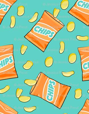 bag of chips - orange on teal