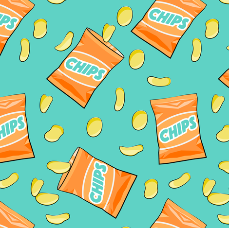 bag of chips - orange on teal fabric by littlearrowdesign on Spoonflower - custom fabric