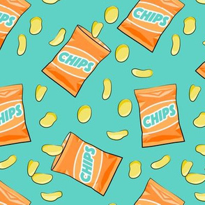 bag of chips - orange on teal