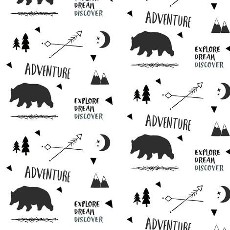 Bear Adventure SMALL 42 - black and white fabric by drapestudio on Spoonflower - custom fabric