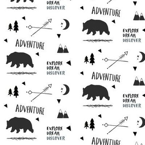 Bear Adventure SMALL 42 - black and white