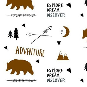 Bear Adventure MED7 - brown and black on white